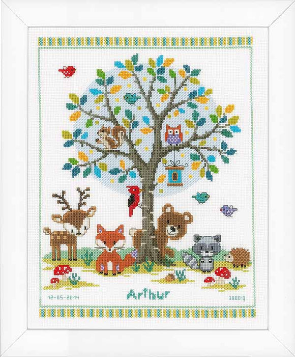 Into the Woods Birth Sampler Cross Stitch Kit By Vervaco