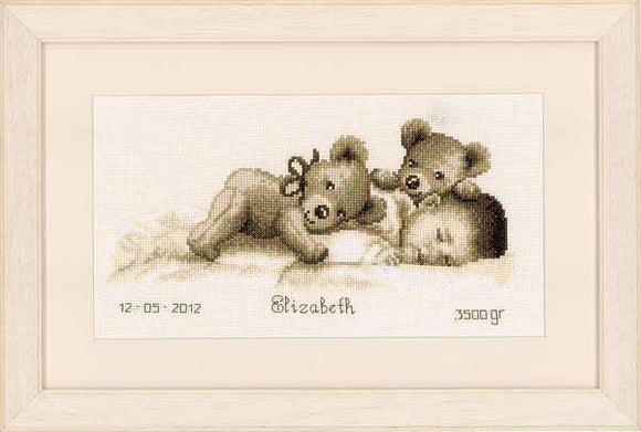 Sleeping with Teddy Birth Sampler Cross Stitch Kit By Vervaco