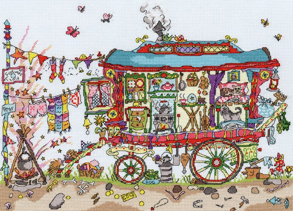 Cut Thru Gypsy Wagon Cross Stitch Kit By Bothy Threads