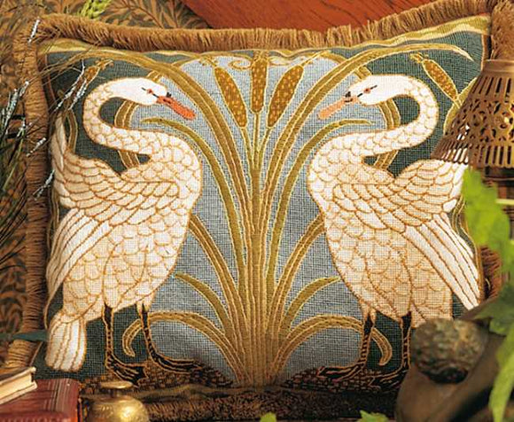 Swans Needlepoint Cushion Kit by Glorafilia