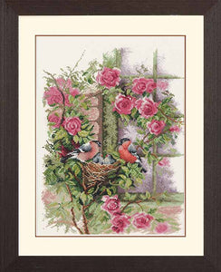 Nesting Birds in Rambler Rose Cross Stitch Kit By Lanarte