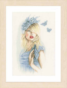 Blue Butterflies Cross Stitch Kit By Lanarte