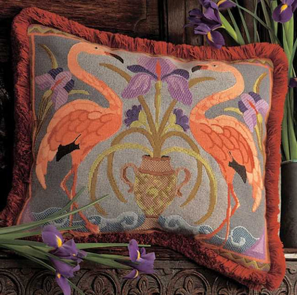Flamingos Needlepoint Cushion Kit by Glorafilia