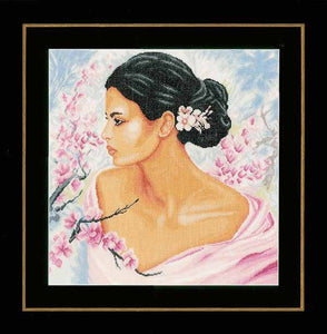 Lady with Blossoms Cross Stitch Kit By Lanarte
