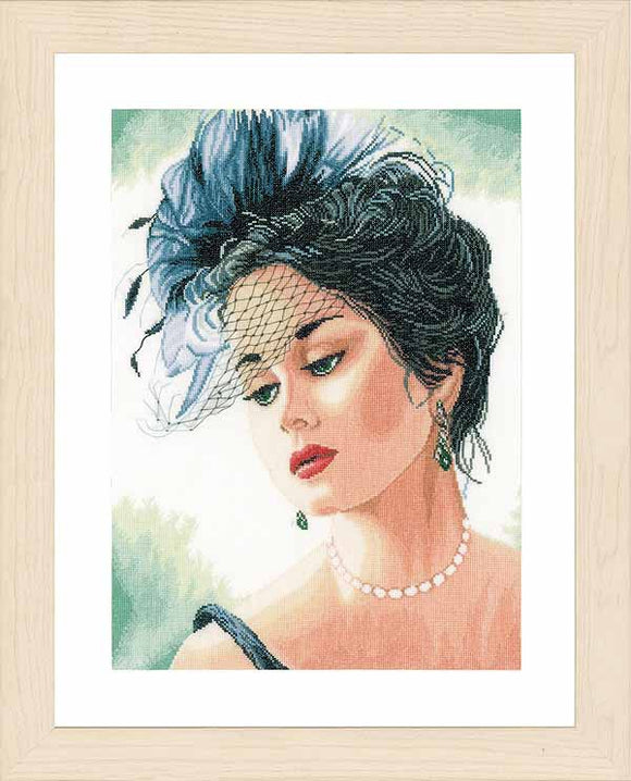 Lady with Hat Cross Stitch Kit By Lanarte