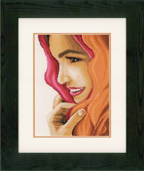 Woman with Scarf Cross Stitch Kit By Lanarte