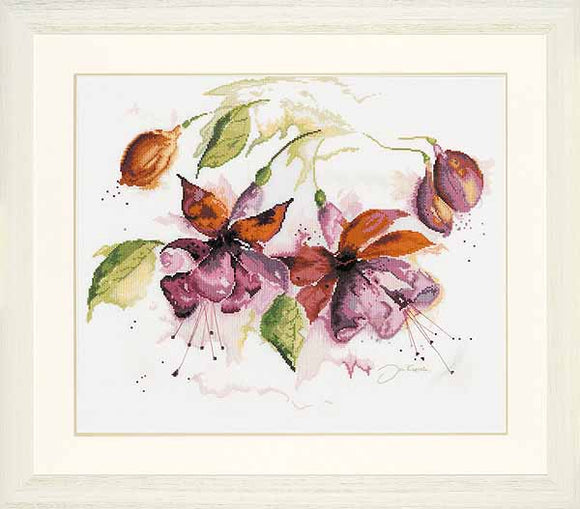 Fuchsia in Watercolour Cross Stitch Kit By Lanarte