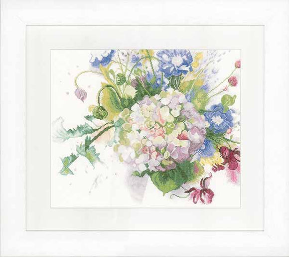 Hortensia Cross Stitch Kit By Lanarte