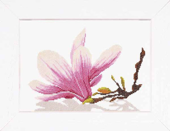 Magnolia Twig with Flower Cross Stitch Kit By Lanarte