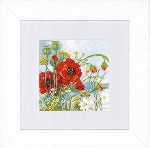 Poppies Cross Stitch Kit By Lanarte