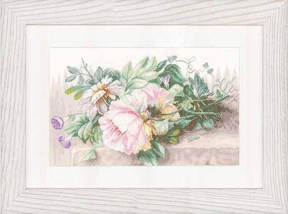 Peonies and Morning Glory Cross Stitch Kit By Lanarte
