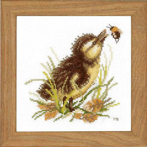 Duckling and Bumble Bee Cross Stitch Kit By Lanarte