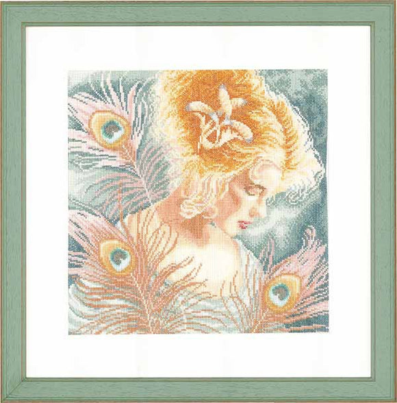 Woman with Peacock Feathers Cross Stitch Kit By Lanarte