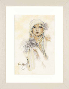 Lady with Lilac Flower Cross Stitch Kit By Lanarte