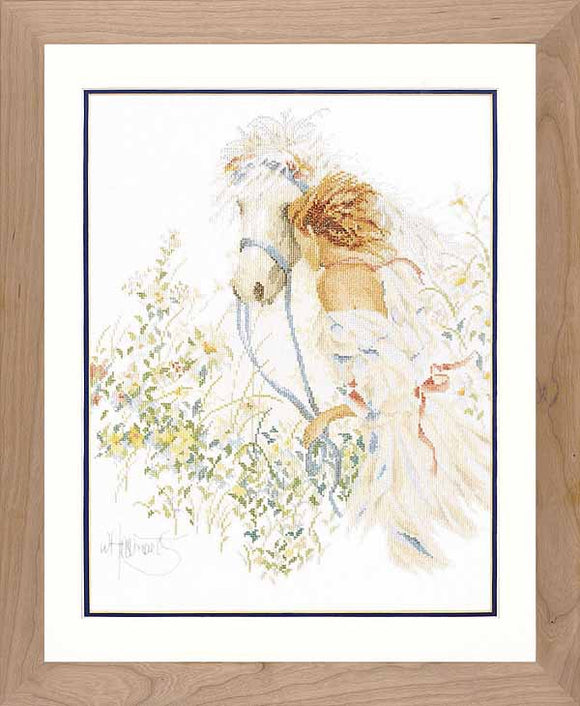 Horse and Flowers Cross Stitch Kit By Lanarte