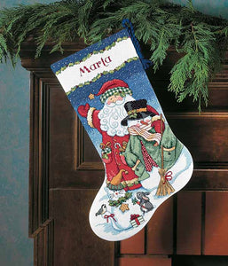 Santa and Snowman Christmas Stocking Cross Stitch Kit by Dimensions