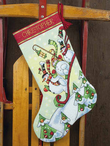 Sledding Snowmen Christmas Stocking Cross Stitch Kit by Dimensions