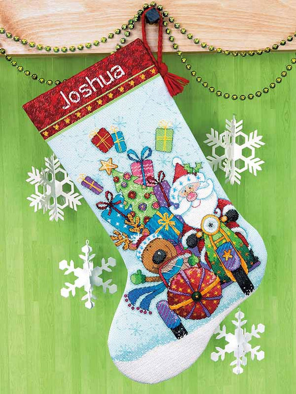 Santas Sidecar Christmas Stocking Cross Stitch Kit by Dimensions