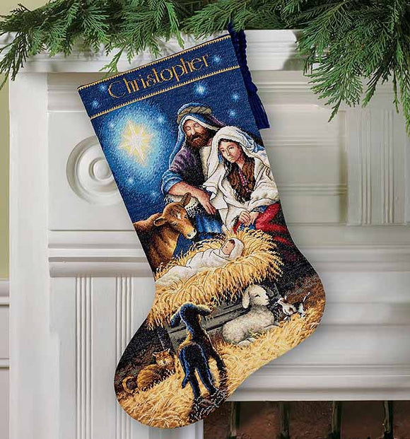 Holy Night Christmas Stocking Cross Stitch Kit by Dimensions