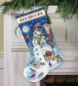 Snowman and Friends Christmas Stocking Cross Stitch Kit by Dimensions