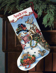 Snowman Gathering Christmas Stocking Cross Stitch Kit by Dimensions