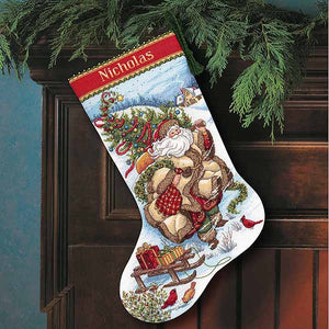 Santas Journey Christmas Stocking Cross Stitch Kit by Dimensions