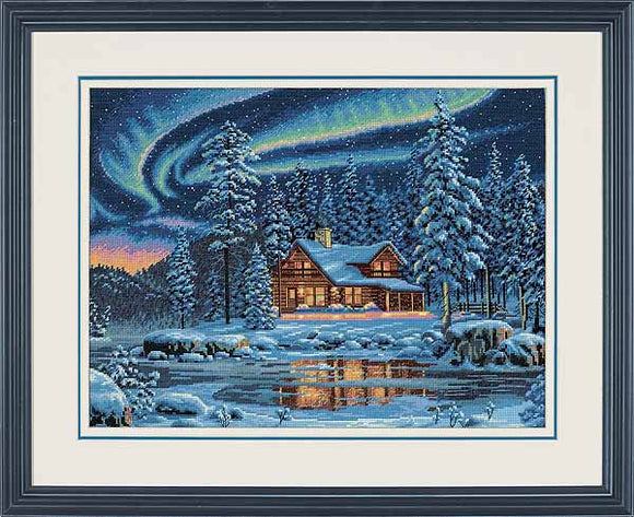 Aurora Cabin Cross Stitch Kit by Dimensions