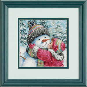 A Kiss for Snowman Cross Stitch Kit by Dimensions