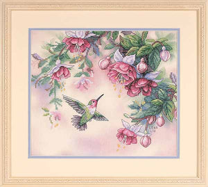 Hummingbird with Fuchsias Printed Cross Stitch Kit by Dimensions