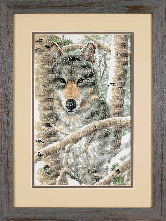 Wintry Wolf Printed Cross Stitch Kit by Dimensions
