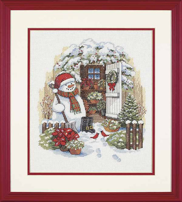 Garden Shed Snowman Cross Stitch Kit by Dimensions