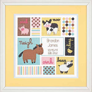 Barn Babies Birth Sampler Cross Stitch Kit by Dimensions