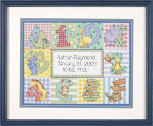 Zoo Alphabet Birth Sampler Cross Stitch Kit by Dimensions