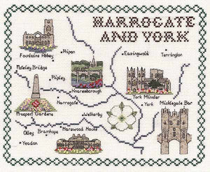 Harrogate and York Map Cross Stitch Kit by Classic Embroidery