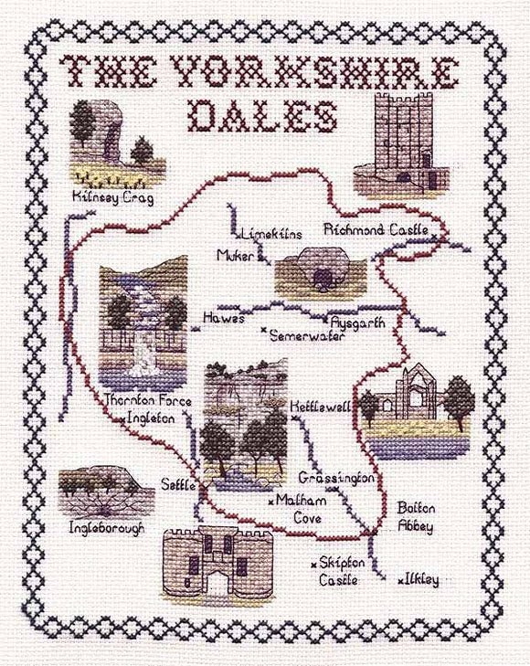 Yorkshire Dales Map Cross Stitch Kit by Classic Embroidery