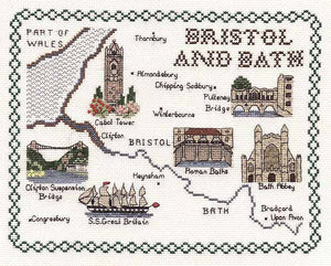 Bristol and Bath Map Cross Stitch Kit by Classic Embroidery