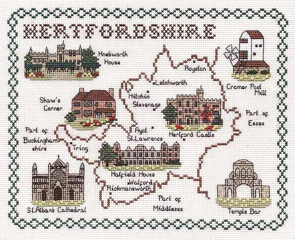 Hertfordshire Map Cross Stitch Kit by Classic Embroidery