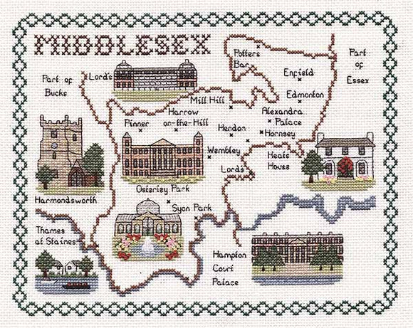 Middlesex Map Cross Stitch Kit by Classic Embroidery