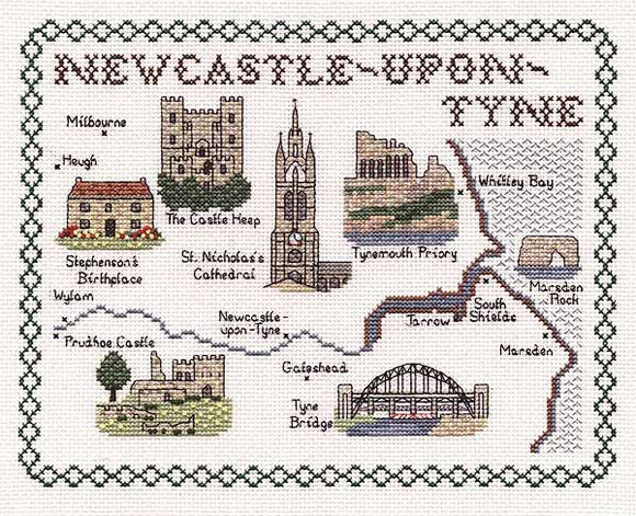 Newcastle Upon Tyne Map Cross Stitch Kit by Classic Embroidery