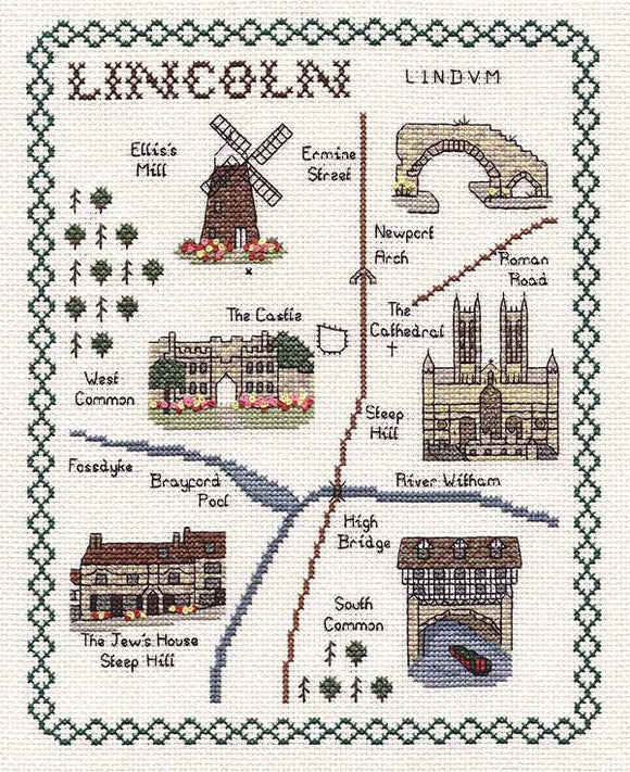 Lincoln Map Cross Stitch Kit by Classic Embroidery