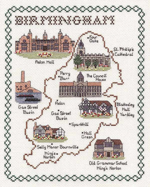 Birmingham Map Cross Stitch Kit by Classic Embroidery