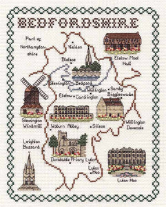 Bedfordshire Map Cross Stitch Kit by Classic Embroidery