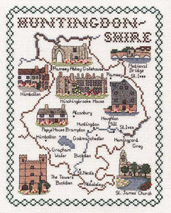 Huntingdonshire Map Cross Stitch Kit by Classic Embroidery