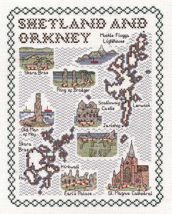Shetland and Orkneys Map Cross Stitch Kit by Classic Embroidery