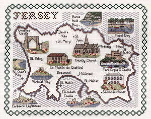 Jersey Map Cross Stitch Kit by Classic Embroidery