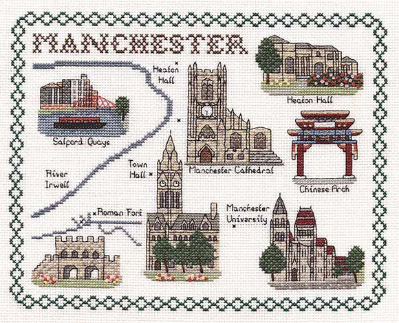 Manchester Map Cross Stitch Kit by Classic Embroidery