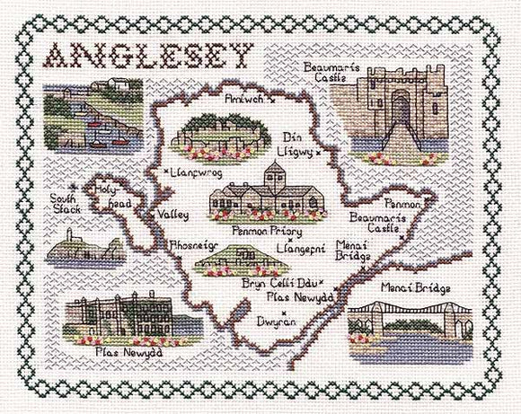 Anglesey Map Cross Stitch Kit by Classic Embroidery