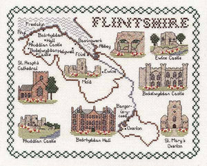 Flintshire Map Cross Stitch Kit by Classic Embroidery