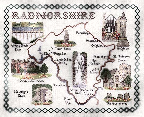 Radnorshire Map Cross Stitch Kit by Classic Embroidery