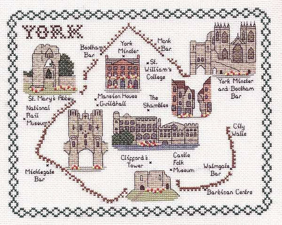 York Map Cross Stitch Kit by Classic Embroidery